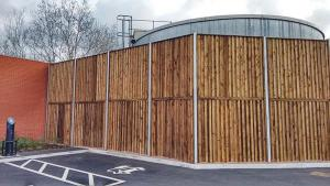 1 Noisewall Single Sided Reflective Barrier in a retail setting